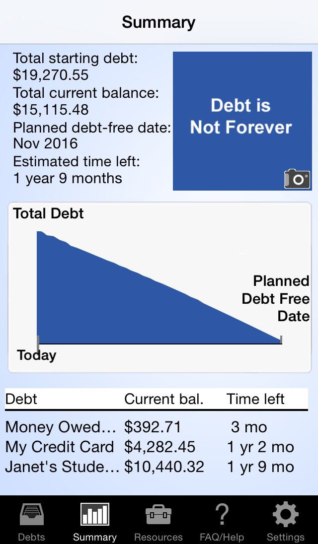 Pay Off Debt app summary screen