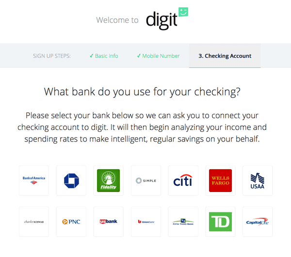Screenshot of Digit signup process that asks What bank do you use? and shows a variety of bank logos