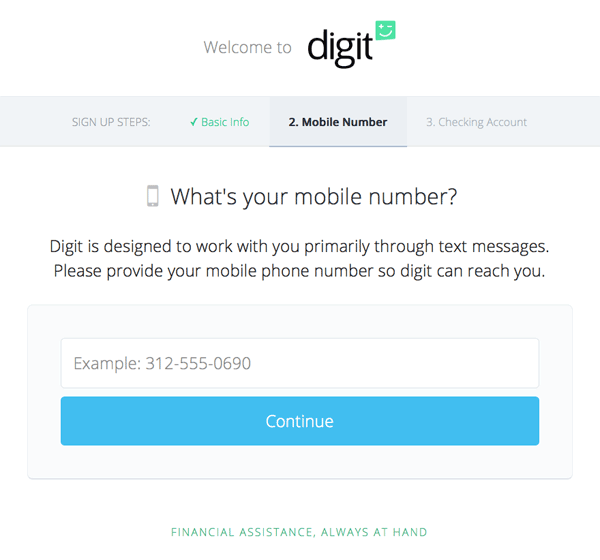 Signup screen asking for mobile number - shown as part of a review of Digit