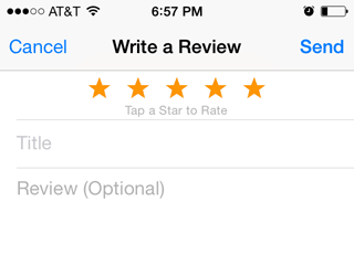 Write a Review screen