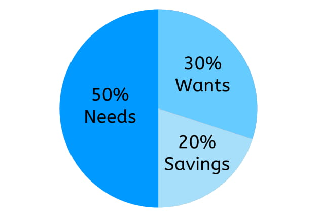 Pie chart example of a 50/30/20 rule budget showing 50% needs, 30% wants, 20% savings