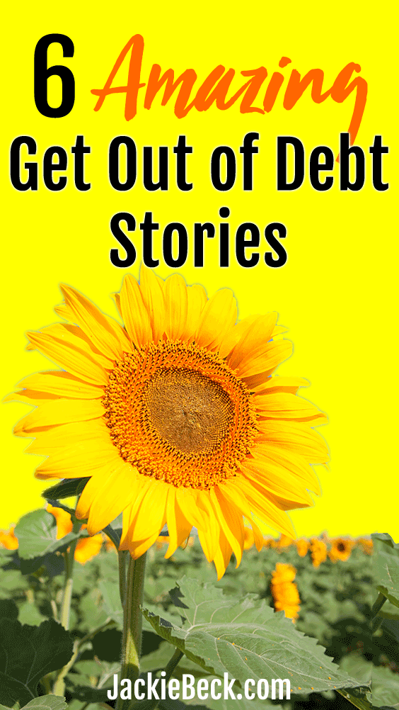 A sunflower with 6 amazing get out of debt stories written above it