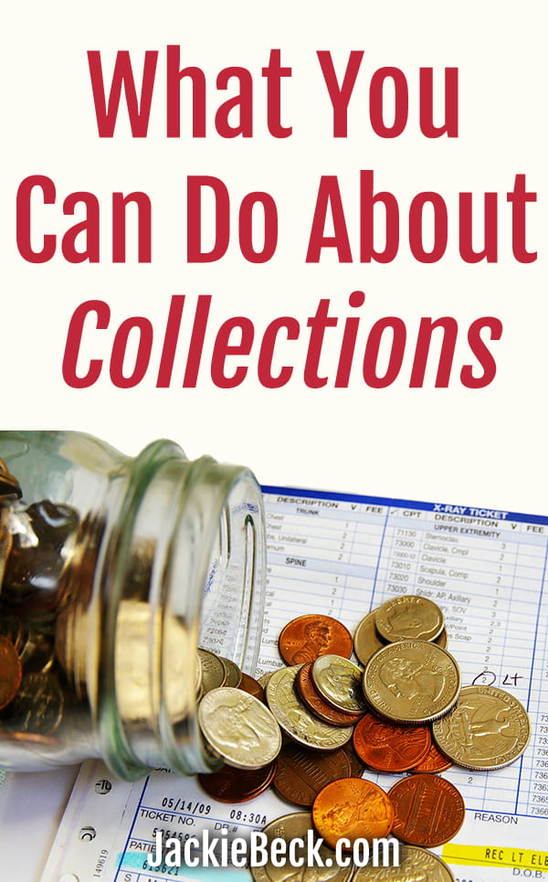 What you can do about collections; jar of coins spilled over medical bill
