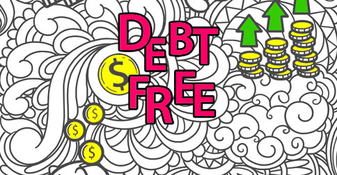 Part of a Debt Free coloring book page