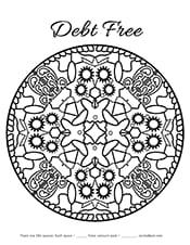 Debt free mandala coloring page