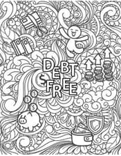 Debt free coloring page