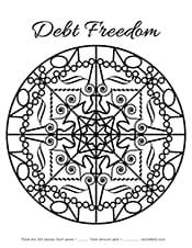 Debt Freedom mandala coloring page