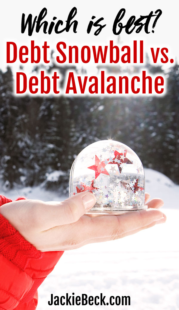 Which is best? Debt snowball vs. debt avalanche - hand holding snow globe
