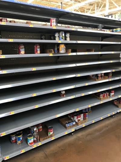 Mostly empty shelves at an Arizona Walmart