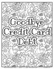 Goodbye credit card debt coloring page
