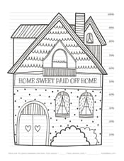 Paid off house debt repayment coloring page