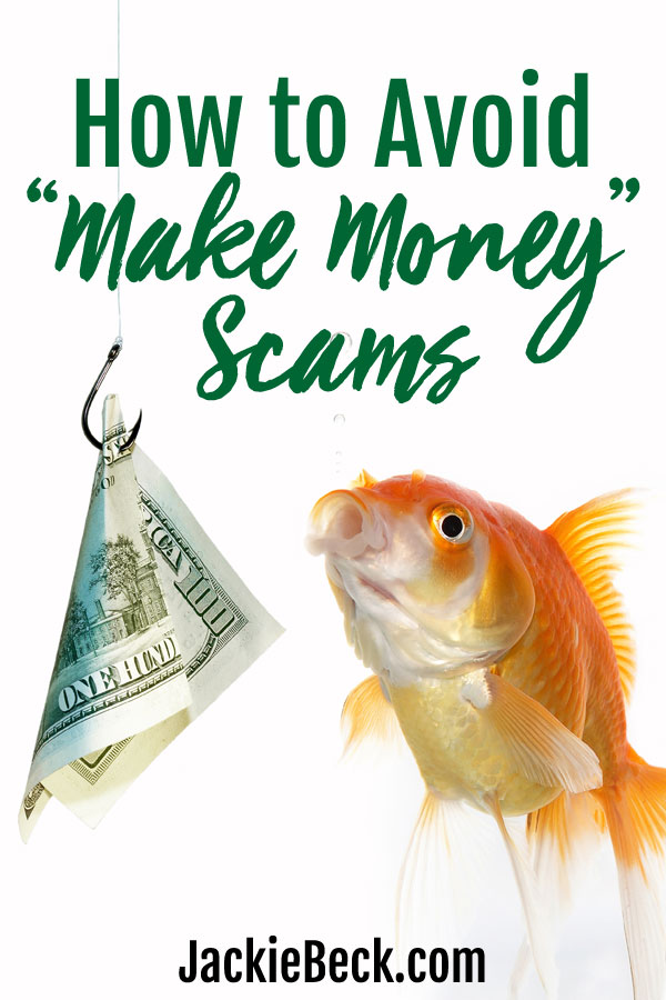 How to avoid make money scams - goldfish and a hook with folded hundred dollar bill on it