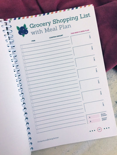 Grocery shopping list with meal plan section -- part of the Intentional Bites Planner