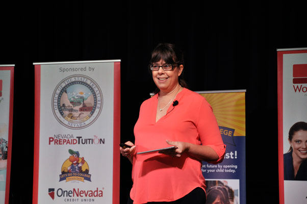 Jackie Beck speaking at the Women's Money Conference in Las Vegas. Photo credit: Jessica Castillo
