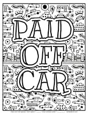 Paid off car debt payoff printable coloring page