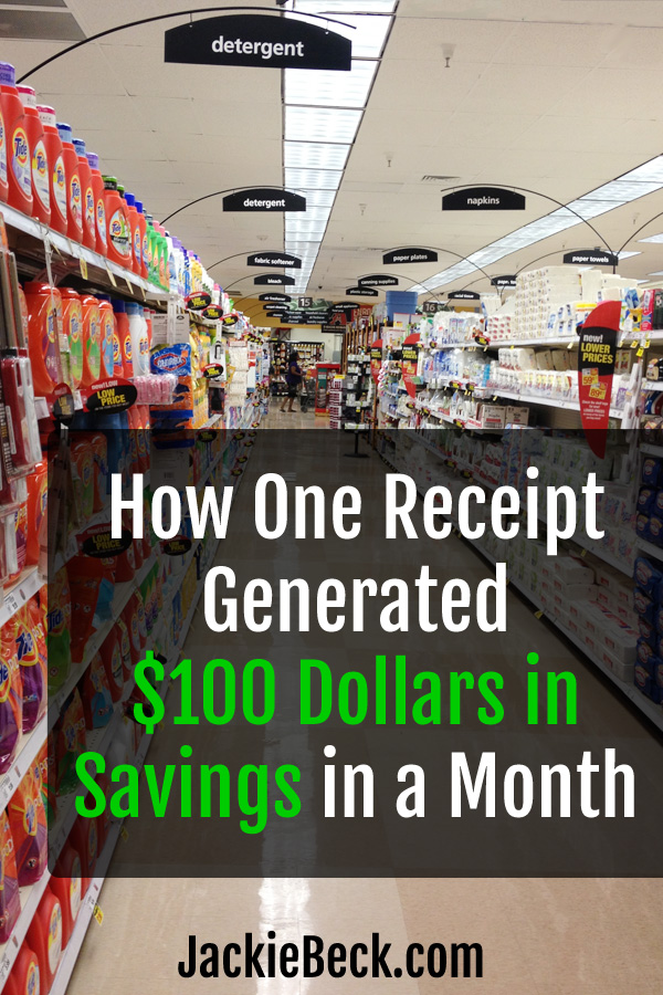 How one receipt generated $100 in savings in a month written over grocery store aisle