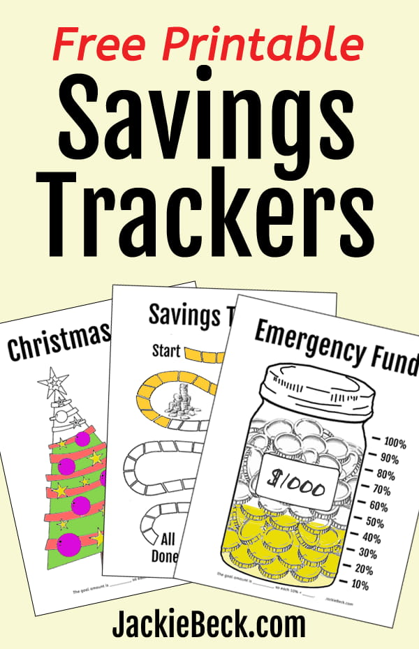 Free visual printable savings trackers