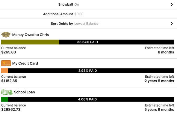 Setting up the debt snowball in the Pay Off Debt app.