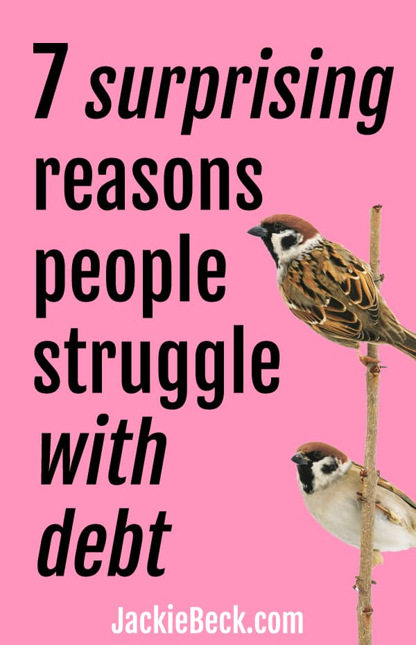 7 surprising reasons struggle with debt; sparrows perching on a stick
